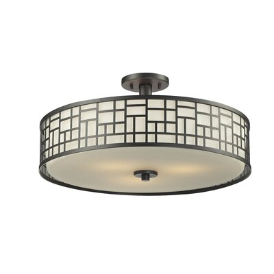 Hummer 3-Light Semi Flush Mount Finish: Bronze, Size: 10.50 H x 20.50 D