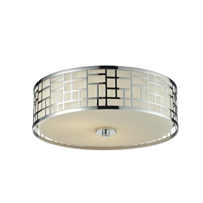 Hummer 3-Light Flush Mount Finish: Chrome, Size: 6.25 H x 16.25 W