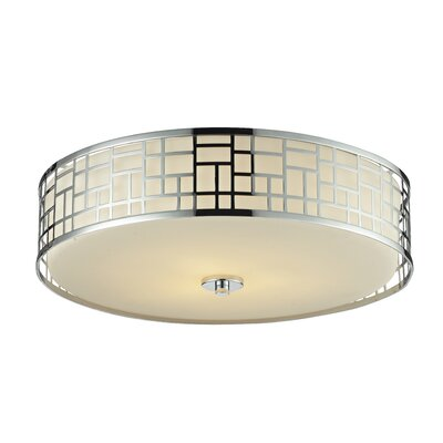 Hummer 3-Light Flush Mount Finish: Chrome, Size: 6.50 H x 20.50 W