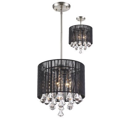 Kent 3-Light Drum Pendant Shade Color: Black