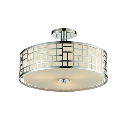 Hummer 3-Light Semi Flush Mount Finish: Chrome, Size: 10.25 H x 16.25 D