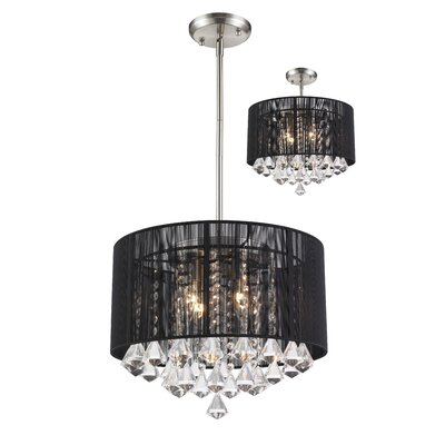 Kent 4-Light Crystal Drum Pendant Shade Color: Black