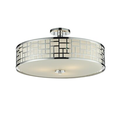 Elea 3-Light Semi Flush Mount Finish: Chrome, Size: 10.50 H x 20.50 D