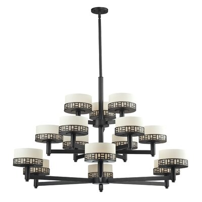 Elea 15-Light Drum Chandelier Finish: Bronze