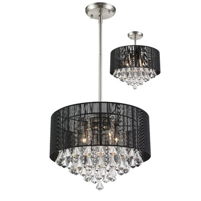Kent 5-Light Drum Pendant Shade Color: Black