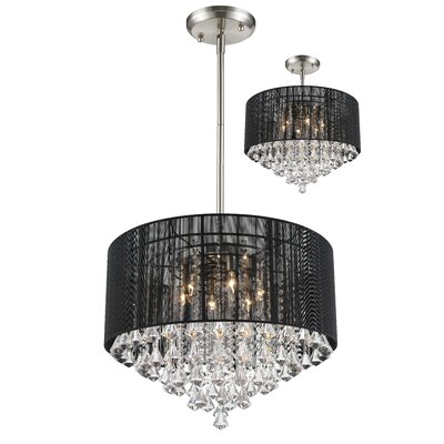 Aura 6-Light Drum Pendant Shade Color: Black