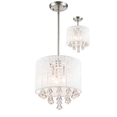 Kent 3-Light Drum Pendant Shade Color: White