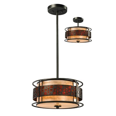 Hutto 3-Light Drum Pendant Size: 54 H x 14 W x 14 D