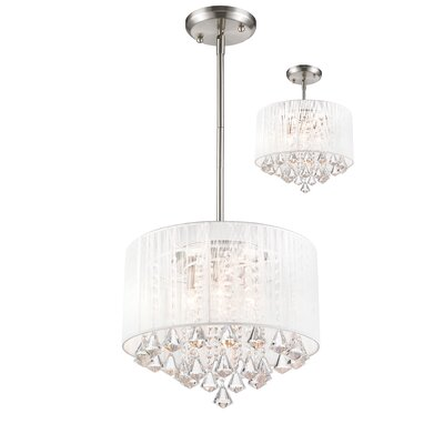 Kent 4-Light Crystal Drum Pendant Shade Color: White
