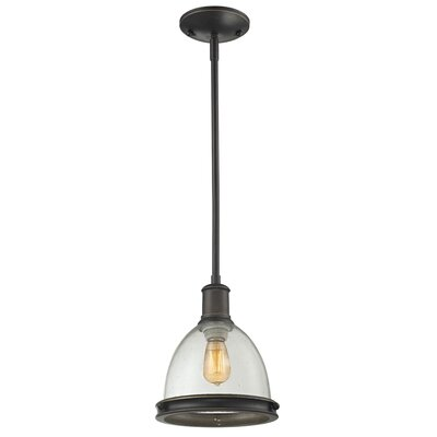 Mason 1-Light Mini Pendant Size: 57.25 H x 8 W x 8 D, Finish: Olde Bronze