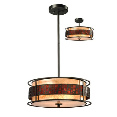 Hutto 3-Light Drum Pendant Size: 54 H x 18 W x 18 D