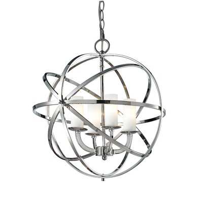 Fridley 4-Light Metal Foyer Pendant Finish: Chrome, Size: 19.29 H x 18.31 W x 18.31 D