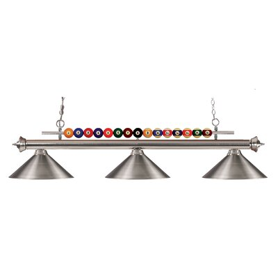 Shark 3-Light Pool Table Light Finish: Brushed Nickel