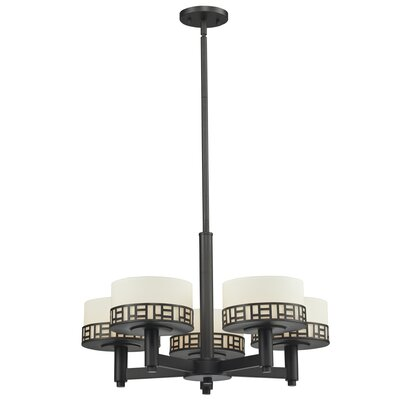 Elea 5-Light Drum Chandelier Finish: Bronze