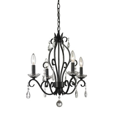 Dutil 4-Light Crystal Chandelier Finish: Matte Black