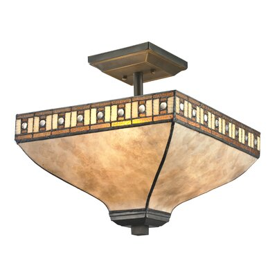 Luellen 3-Light Semi Flush Mount Shade color: White