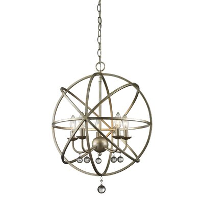Acadia 5-Light Foyer Pendant Base Finish: Antique Silver