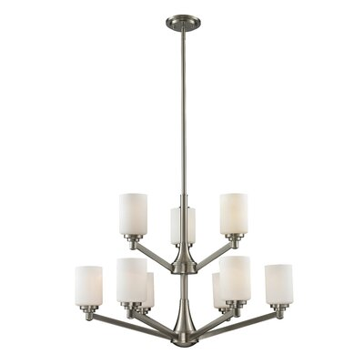 Seeber 9-Light Shaded Chandelier Finish: Brushed Nickel