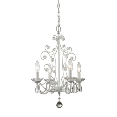 Dutil 4-Light Crystal Chandelier Finish: Gloss White
