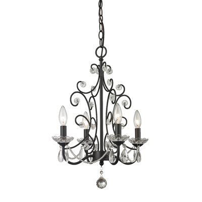 Princess 4-Light Crystal Chandelier Finish: Gloss Black