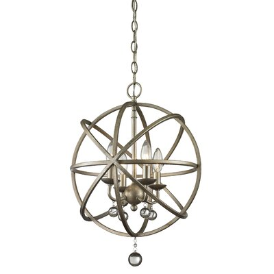 Acadia 4-Light Globe Pendant Base Finish: Antique Silver