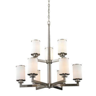 Savannah 9-Light Shaded Chandelier Finish: Brushed Nickel
