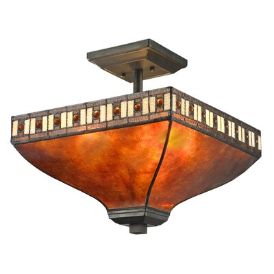 Crimson 3-Light Semi Flush Mount Shade color: Amber
