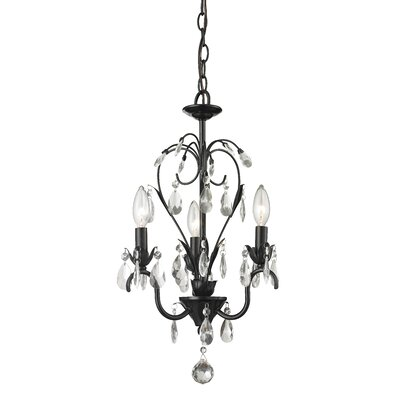 Princess 3-Light Crystal Chandelier Finish: Gloss Black
