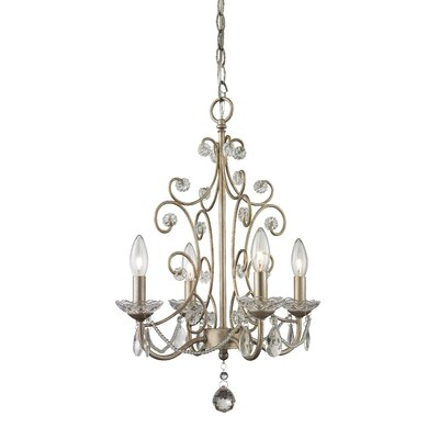 Dutil 4-Light Crystal Chandelier Finish: Antique Silver