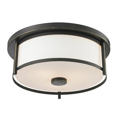 Crumley 2-Light Flush Mount Size: 4.88 H x 13.75 W, Color: Olde Bronze