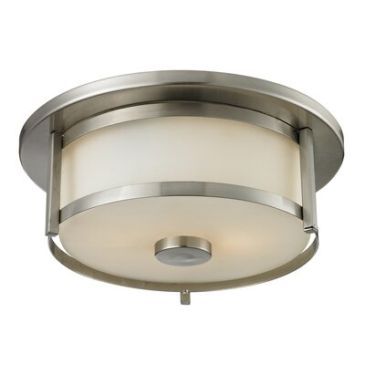 Crumley 2-Light Flush Mount Size: 5 H x 11 W, Color: Brushed Nickel