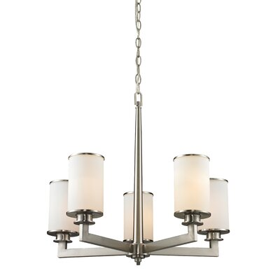 Crumley 5-Light Shaded Chandelier Color: Brushed Nickel