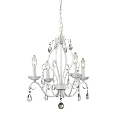 Dutil 4-Light Crystal Chandelier Finish: Matte White