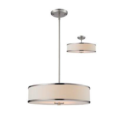 Cameo 3-Light Drum Pendant Size: 53.5 H x 19.5 W
