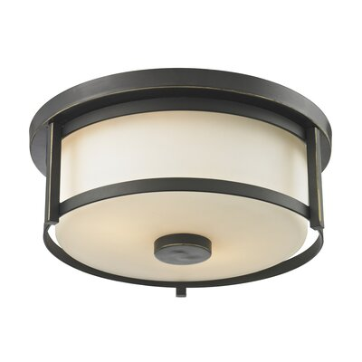 Crumley 2-Light Flush Mount Size: 5 H x 11 W, Color: Olde Bronze