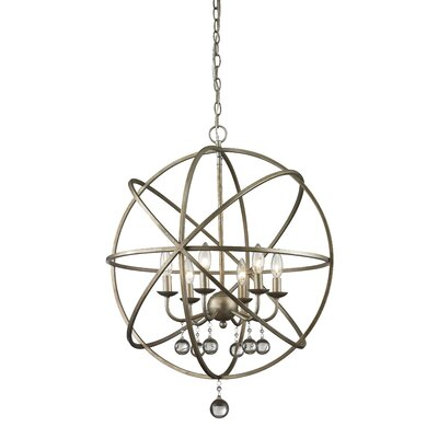 Broyhill 6-Light Foyer Pendant Base Finish: Antique Silver