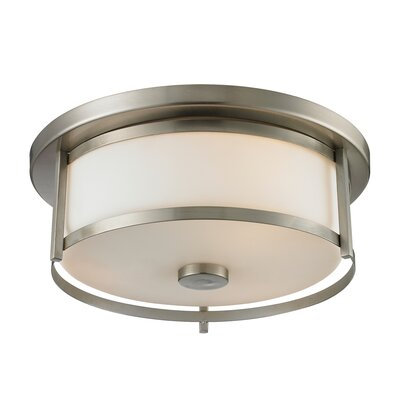 Crumley 2-Light Flush Mount Size: 4.88 H x 13.75 W, Color: Brushed Nickel