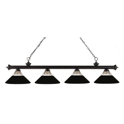 Riviera 4-Light Kitchen Island Pendant Shade Color: Matte Black, Finish: Bronze