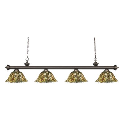 Bristoly Bell Shade 4-Light Kitchen Island Pendant Finish: Olde Bronze
