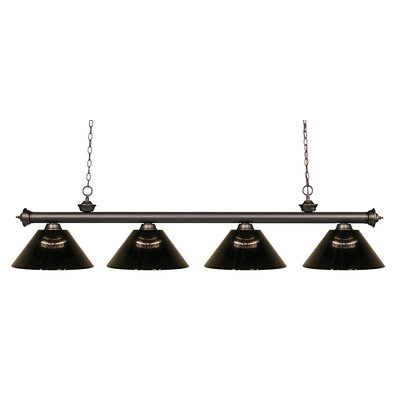 Chapple 4-Light Kitchen Island Pendant Finish: Olde Bronze, Shade Color: Smoke