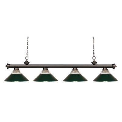 Riviera 4-Light Kitchen Island Pendant Shade Color: Dark Green, Finish: Olde Bronze