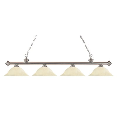 Zephyr 4-Light Steel Kitchen Island Pendant Finish: Brushed Nickel, Shade Color: Golden Mottle