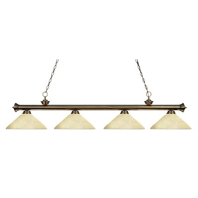 Riviera 4-Light Kitchen Island Pendant Finish: Antique Brass, Shade Color: Golden Mottle