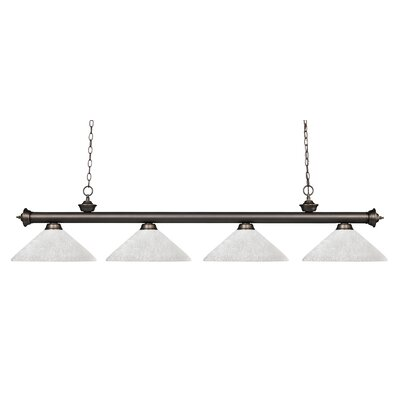 Zephyr 4-Light Cone Shade Kitchen Island Pendant Shade Color: White Linen, Finish: Olde Bronze