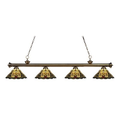 Riviera 4-Light Kitchen Island Pendant Finish: Antique Brass