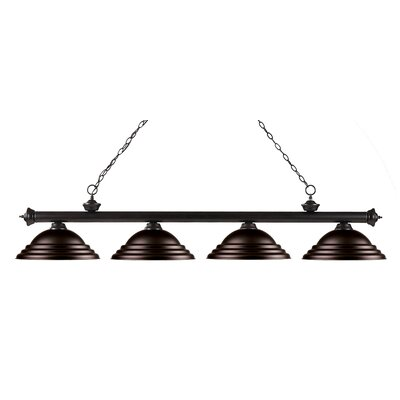 Zephyr 4-Light Metal Shade Kitchen Island Pendant Finish: Bronze, Shade Color: Bronze