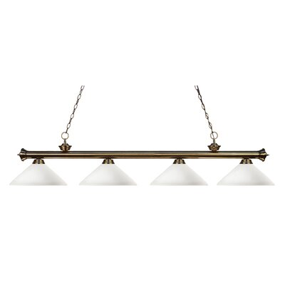 Zephyr 4-Light Cone Shade Kitchen Island Pendant Finish: Antique Brass, Shade Color: Matte Opal