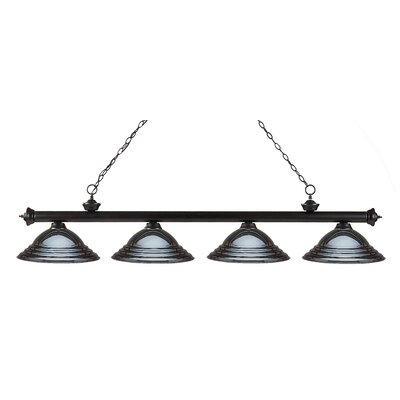 Zephyr 4-Light Metal Shade Kitchen Island Pendant Finish: Bronze, Shade Color: Gun Metal