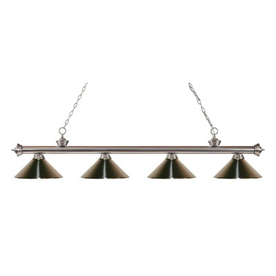 Zephyr 4-Light Kitchen Island Pendant Finish: Brushed Nickel, Shade Color: Brushed Nickel