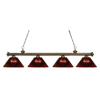 Chapple 4-Light Kitchen Island Pendant Finish: Antique Brass, Shade Color: Burgundy